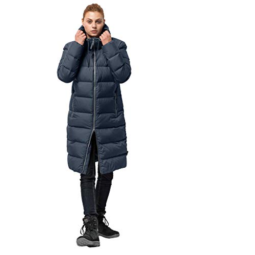 Jack Wolfskin Damen Crystal Palace Down Puffer Long Jacket, Damen, Midnight Blue, Large - Blue Puffer