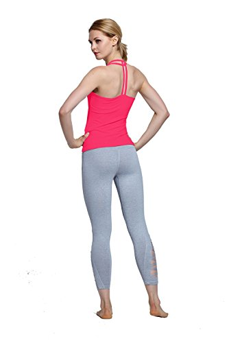 Harem Yoga Frauen Starker Halt Sport Laufweste aermelloses Yoga-Shirt Sports Hemd Red