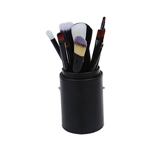 TOOGOO(R) 12pcs pinceau maquillage professionnel Set Outil de maquillage kit brosse de maquillage avec Cup Holder Case en cuir (noir)