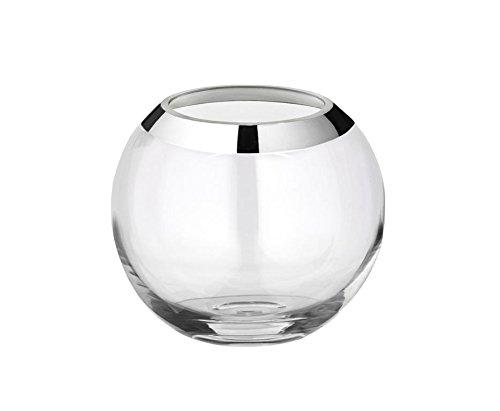 EDZARD Vase Mirinde, Kristallglas mit Platinrand, Durchmesser 20 cm, Höhe 18 cm