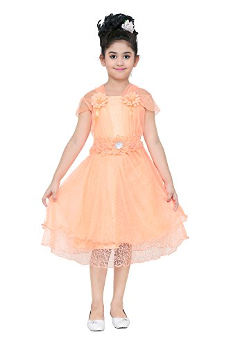 YAYAVAR Girls Net Made Orange Colored Casual/Party Wear Frock for Girls -...