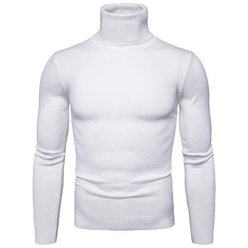 Reine Farbe Rollkragen Langarm Slim Strickhemd Top (M,Weiß) ()