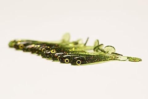 Micro fry fishing lures 1.5'' (38mm) 0.35g drop shot Un paquet de 10 unités FISHIN ADDICT (WATERMELON GREEN, 38)