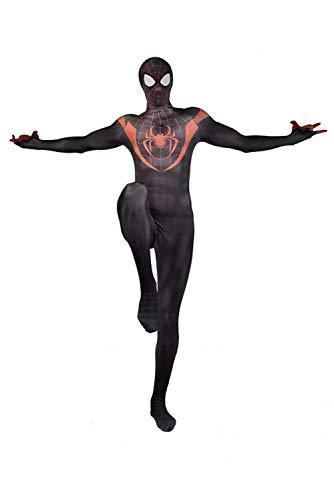 RedJade Miles Morales Spider-Man: Into The Spider-Verse Uniform Jumpsuit Overall Bodysuit Outfit Cosplay Kostüm Kinder Jungen S (Spiderman Morales Kostüm Miles)
