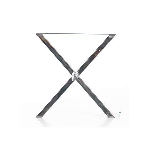 Tischgestell X-Form I 80 x 40 mm Profil I hochwertiger Stahl - Edelstahl-Optik gebürstet & klar lackiert I 72 cm hoch I Indoor & Outdoor I Untergestell I 1 Stück
