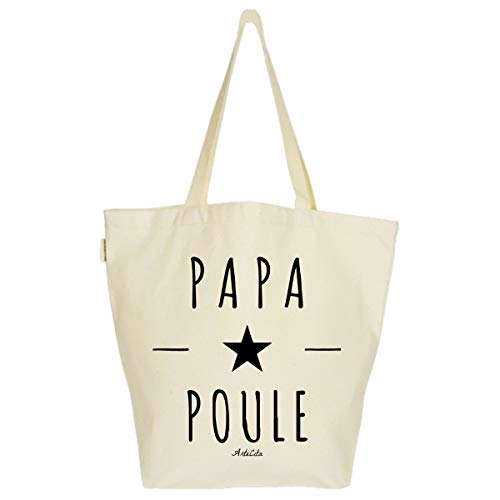 ArteCita ECO Fashion Grand Sac Cabas Fourre-tout Imprimé Toile Bio 37x45x20cm Tote Bag XL - Papa Poule