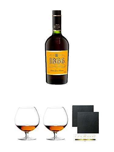 1866 Brandy Gran Reserva 0,7 Liter + Cognacglas/Schwenker Stölzle 1 Stück - 103/18 + Cognacglas/Schwenker Stölzle 1 Stück - 103/18 + Schiefer Glasuntersetzer eckig ca. 9,5 cm Ø 2 Stück