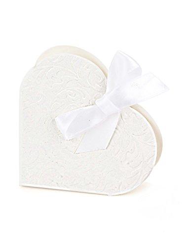 50 cuori (bianco) con fiocco, da matrimonio e festa, decorazione, regalo