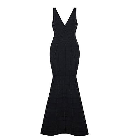 Hego Women's 2016 New V Neck Fishtail Sexy Solid Black Bandage Bodycon Formal Dresses Long H2609 (S, Noir)
