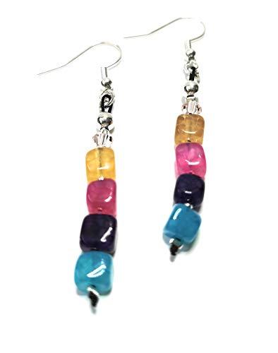Ohrringe hängend, Achat Perlen, Würfelform, frische sommerliche Farben, BRe-Art