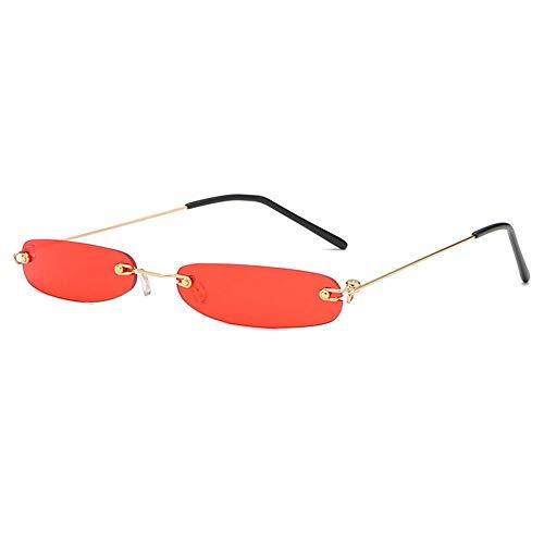 FOONEE Damen-Sonnenbrille, schmal UV-Schutz, klein, rechteckig, randlos, Retro-Sonnenbrille, rahmenlose Sonnenbrille, Candy Color Unisex rot
