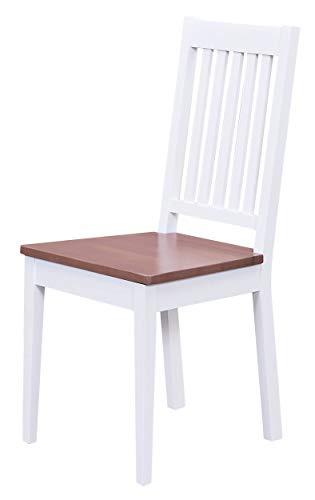 H24living Esszimmerstühle 2er Set Massiv-Holz Küchen-Stühle Doppelpack Holzstühle Landhaus-Stil Essstühle Natur-Produkt Design Stühle aus Echt-Holz