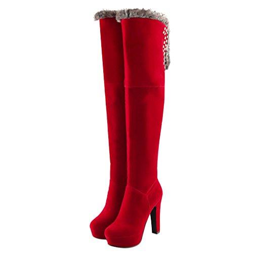 ENMAYER donne sexy stiletto tacchi peloso rosso velluto rivetti piattaforma stivali sopra al ginocchio festa vestito da sposa le scarpe Rosso