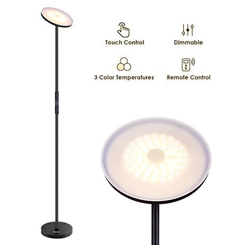 Albrillo lampada da terra led - 20w piantana moderna da terra dimmerabile con 3 temperatura di colore, telecomando e interruttore touch, lampada da pavimento per solatto, camera da letto