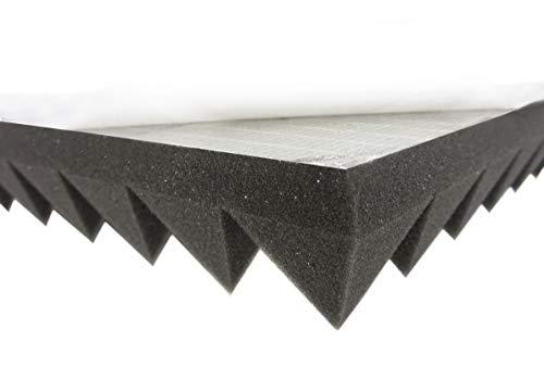 Akustikpur Akustikschaumstoff Pyramidenschaumstoff SELBSTKLEBEND - Schalldämmmatten zur effektiven Akustik Dämmung 4 Stk. ca. 49 cm x 49 cm x 6 cm