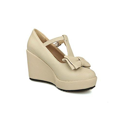 VogueZone009 Damen Pu Leder Hoher Absatz Rund Zehe Schnalle Pumps Schuhe Cremefarben