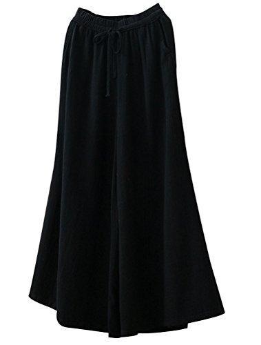 MatchLife Damen Leinen Breite Bein Culotte Hohe Taille Stoffhosen Elastic Drawstring Hose Schwarz Fits EU 32-40