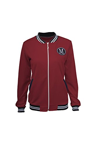 Damen - Baseball - Jacke Pflaster Applique Reißverschluss Mantel Darkred