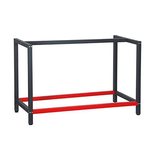 Bastidor banco trabajo 125x57x81cm Acero Antracita-rojo