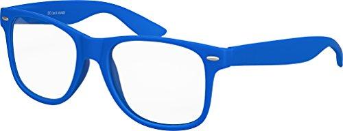 Hochwertige Nerd Sonnenbrille mit Klarglas matte Rubber Retro Vintage Unisex Brille mit...
