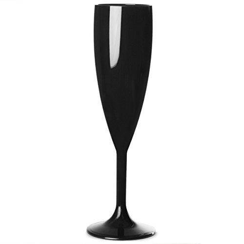 Elite Premium-Flûte à Champagne-Polycarbonate noir 7 oz/200 ml réutilisables en plastique Verres à Champagne en plastique Polycarbonate incassable Idéale pour les fêtes en extérieur &de traiteurs