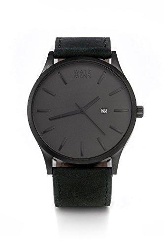 WATZMANN watch // grey edition mit schwarzem Lederarmband - minimalistische Herrenuhr - Schweizer Uhrwerk