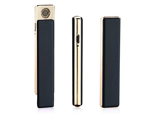 Aokvic Super Slim Zigarette Mini USB elektronisches Feuerzeug Quiet Lady Gentleman Design (Schwarz)