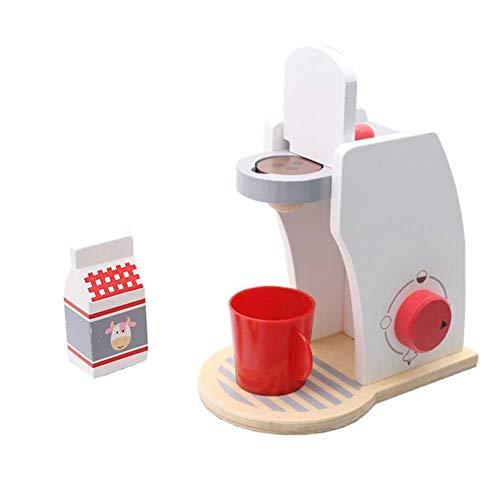 Waroomss Máquina de café Juego de casa de juguete, Juego de máquina de café de madera Casa de juguete Máquina de café Taza Caja de leche Juego de juguete