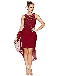 2e9193ef796 Quiz Cherry Dress with Sweetheart Neckline, LACE & Asymmetric Hem UK ...