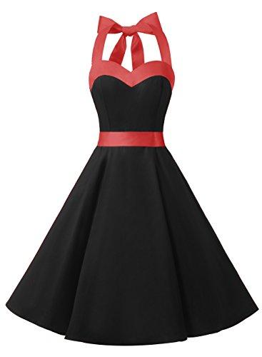 Dresstells Neckholder Rockabilly 50er Vintage Retro Kleid Petticoat Faltenrock Black M