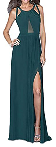 Langes Kleid mit Ausschnitt halbtransparent Grün