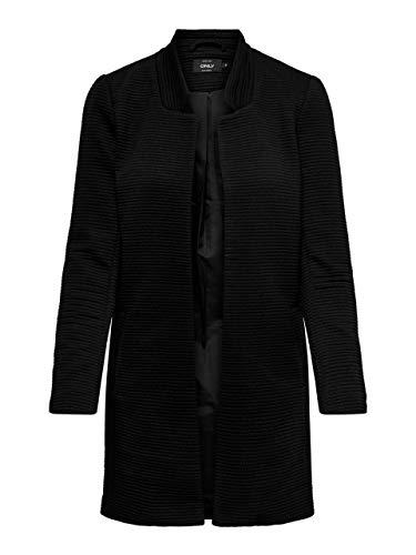 ONLY Damen Mantel onlLINK SOHO L/S Coatigan CC TLR, Schwarz (Black Detail:SOLID), 36 (Herstellergröße:S)