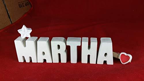 Beton, Steinguss Buchstaben 3 D Deko Schriftzug Namen MARTHA als Geschenk verpackt! Ein ausgefallenes Geschenk zur Geburt, Taufe, Geburtstag, Namenstag oder auch zu anderen Anlässen.