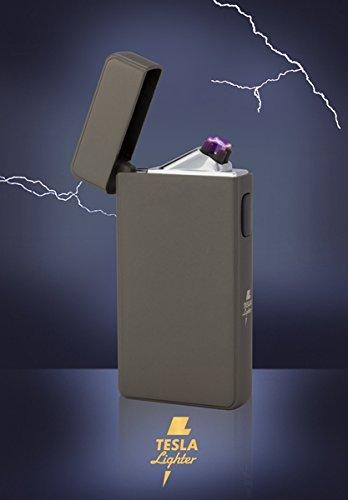 *Tesla-Lighter T13 | Lichtbogen Feuerzeug, Plasma Double-Arc, elektronisch wiederaufladbar, aufladbar mit Strom per USB, ohne Gas und Benzin, mit Ladekabel, in edler Geschenkverpackung, Gunmetal/Anthrazit*