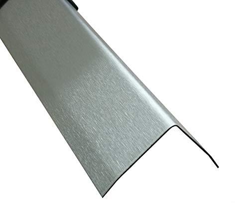 Edelstahl Winkel 3-fach gekantet 150 cm Kantenschutz Metall V2A Eckleiste (K240 geschiffen, 30x30x0,8 mm)