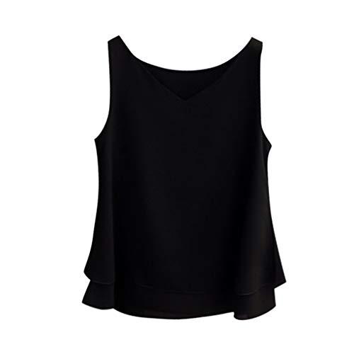 Longra Tops Damen Tanktop Chiffon Shirt Ärmelloses Hemd Solide V-Ausschnitt Casual Bluse Top Kurzarm Elegant T Shirts Classic Basics Bluse ohne Arm Funktionsblusen