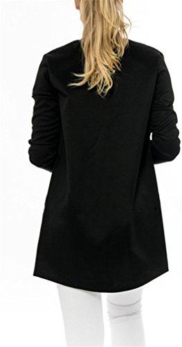 Der Frauen-beiläufige lange Hülsen-Reißverschluss Getäferten Slim Fit Jacke Bomber-Jacken-Mantel Schwarz