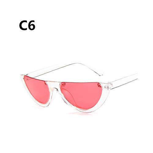 Sportbrillen, Angeln Golfbrille,Cool Trendy Half Frame Rimless Cateye Sunglasses Women NEW Fashion Clear Brand Designer Sun Glasses For Female Oculos De Sol C6