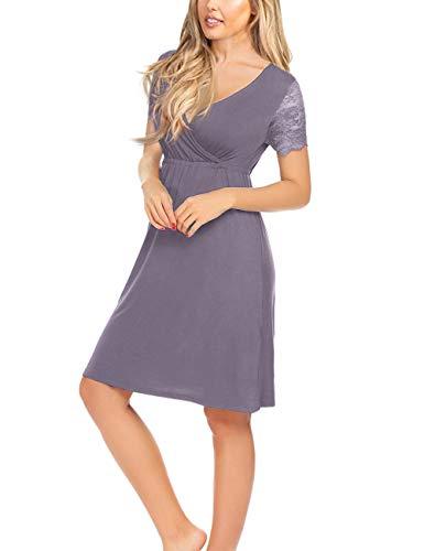 KOJOOIN Damen Umstandskleid Spitzenkleid Schwangere V-Ausschnitt Stillkleid Schwangerschafts Kleid mit Kurzarm -