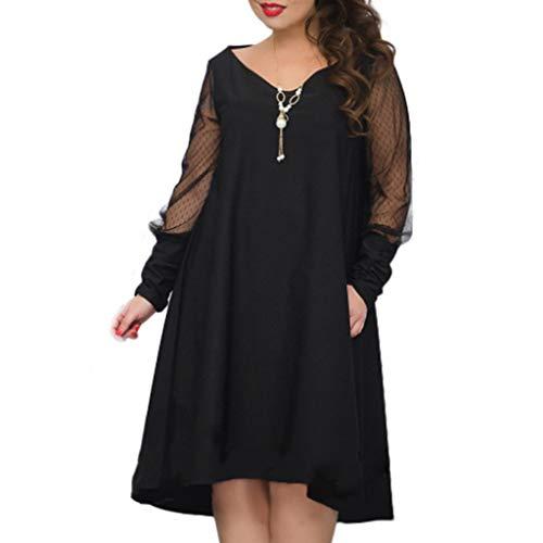 Darringls Damen Plus Size Große Größen Elegantes Langes Spitzenkleid Cocktailkleid Abendkleid...