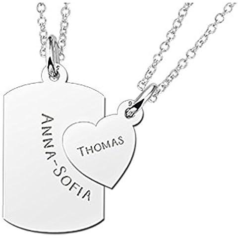 Nome Forever amicizia Collana-con-cuore con 2ciondoli 2collane e 2chiamato incisioni Set con piastrina in argento