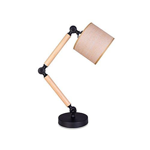 KMYX E27 Eisen 2-Arms Retro Mechanische Klapptischlampe Woody Einstellbare Schreibtischleuchten Warm Tuch Lampenschirm Desktop-Leuchten Augenschutz Leselampe für Schlafzimmer Studie Wohnzimmer Büro Café Beleuchtung Leuchte Ziel Der Marke Tücher
