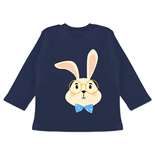 Tiermotive Baby - Süßer Hase mit Brille und Fliege - 3-6 Monate - Navy Blau - BZ11 - Baby T-Shirt Langarm