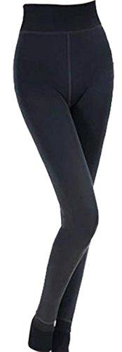 Zolimx Frauen Winter Starke warme Fleece Futter Thermal Stretchy Gamaschen Hosen (Schwarz) (Schwarz Yoga Über Hose Falte)