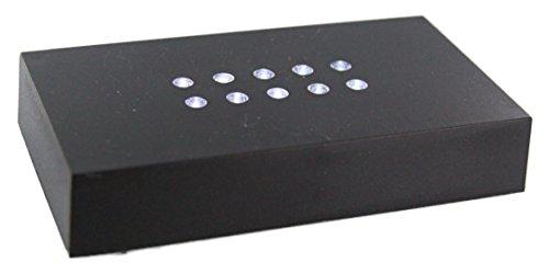 VIP-LASER LED LEUCHTSOCKEL | 10 weiße LED | Farbe Schwarz | Optimal um Ihren 2D und 3D Glaskristall oder Glasfoto in Szene zu Setzen! Abmessungen: 110x60x20mm