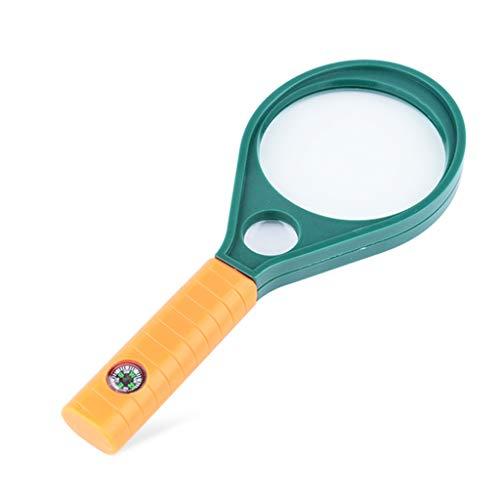 HYBKY Handlupe Optische Lupe, 2 Lichtdurchlässige Glaslinsen-Hauptspiegel 10-Fach Hilfsspiegel 20-Fach, Kinderlesung Lupe