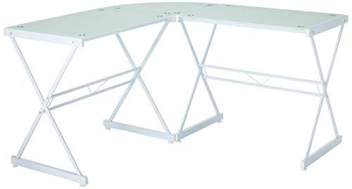 Techni Mobili RTA-3805L-WHT L-förmiger Computertisch, Glas, klar, Schreibtisch für Zuhause, Weiß
