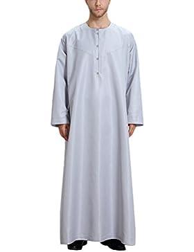Zhuhaitf Suave y cómodo Mens Muslim Thobe Long Sleeve Crew Neck Arabic Arab Dubai Dress Robe Clothing Saudi Style