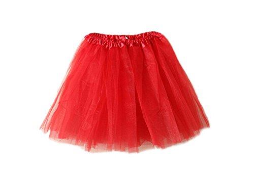 DELEY Donne Adulti Classico Balletto vita elastica Strato maglia mini tutu gonna Rosso