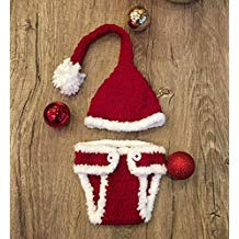 Idea Regalo - Santa, Newborn Baby Girl/Boy Crochet Knit Costume Photo Photography Prop Hats Outfits